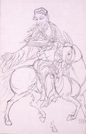 高士騎驢図(画稿)