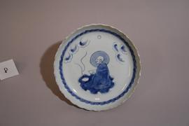 青花羅漢文皿